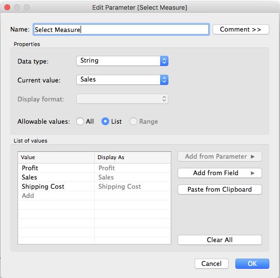 Creating parameter